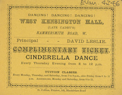 Ticket for dancing lessons at the West Kensington Hall